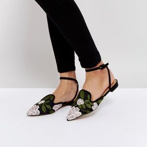 ASOS LAGOS Embroidered Ballet Flats - Black | US 9